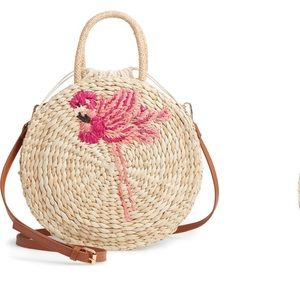 Flamingo straw bag